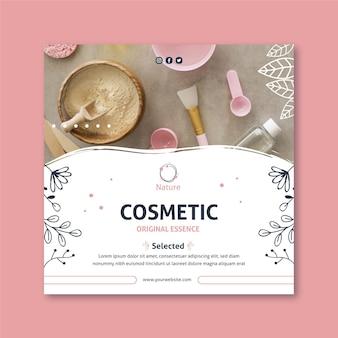Folheto quadrado de cosméticos naturais da essência original