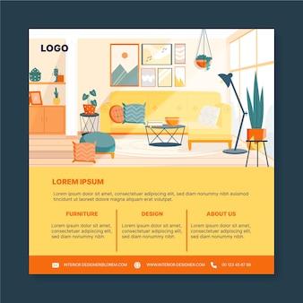 Folheto quadrado de design de interiores
