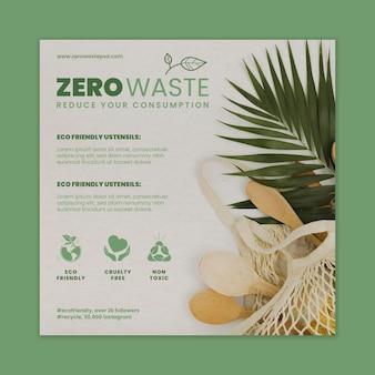 Folheto quadrado de desperdício zero