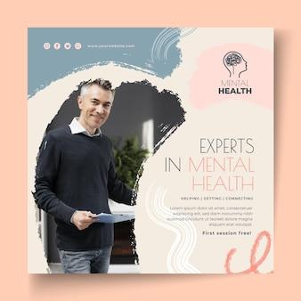 Folheto quadrado de especialistas em saúde mental
