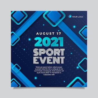 Folheto quadrado de evento esportivo gradiente