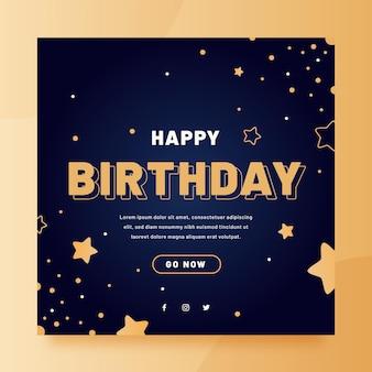 Folheto quadrado de feliz aniversário plana