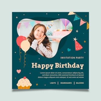 Folheto quadrado de festa de aniversário