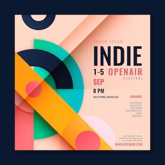 Folheto quadrado de festival indie plano