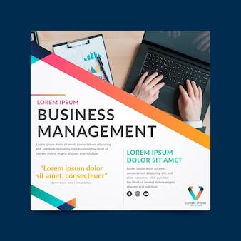 Folheto quadrado de gestão empresarial