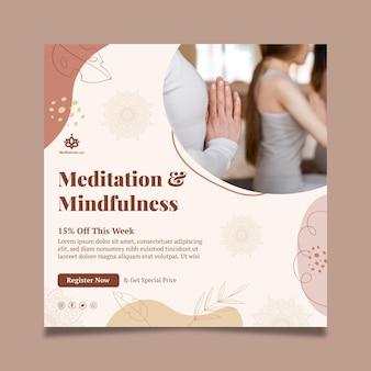 Folheto quadrado de meditação e atenção plena