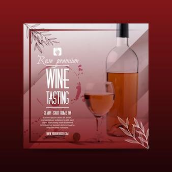 Folheto quadrado de modelo de degustação de vinhos
