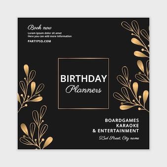 Folheto quadrado de planejadores de aniversários