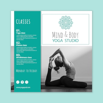 Folheto quadrado de prática de ioga