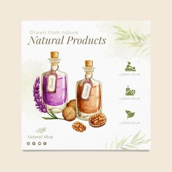 Folheto quadrado de produtos naturais