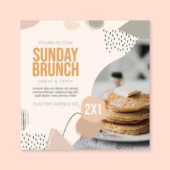 Folheto quadrado de restaurante de comida de brunch de domingo
