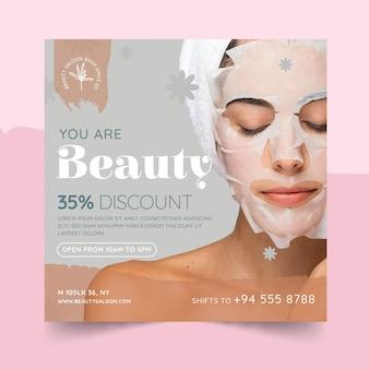 Folheto quadrado de salão de beleza e saúde