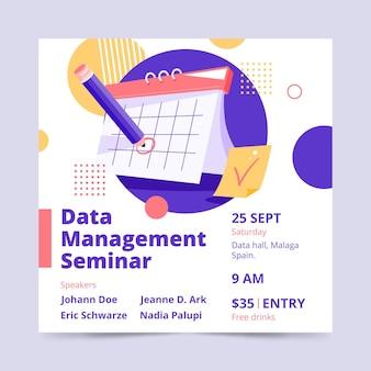 Folheto quadrado de seminário de gerenciamento de dados