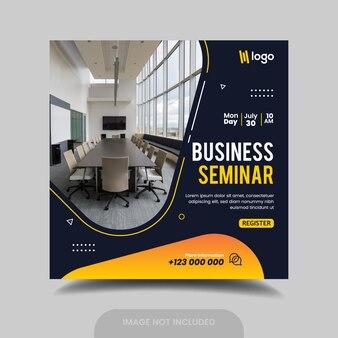 Folheto quadrado de seminário de negócios