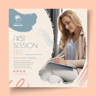 Folheto quadrado de sessão de terapia gratuita