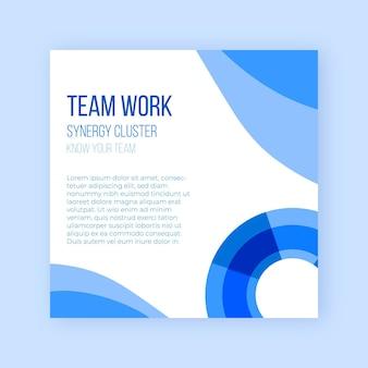 Folheto quadrado de trabalho em equipe de negócios