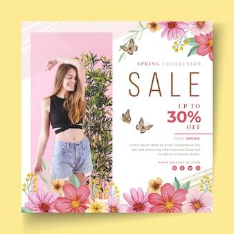 Folheto quadrado de venda de primavera em aquarela