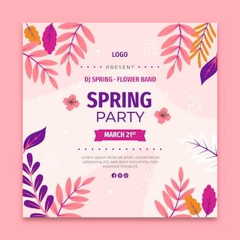 Folheto quadrado de venda de primavera plana