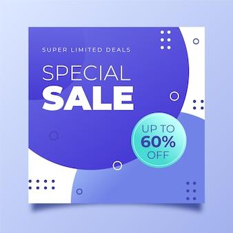 Folheto quadrado de venda especial gradiente