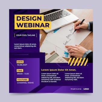 Folheto quadrado de webinar de design de gradiente
