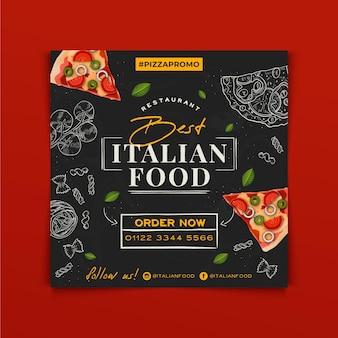 Folheto quadrado desenhado à mão com comida italiana