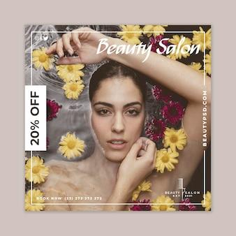Folheto quadrado floral para salão de beleza