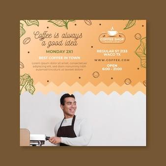 Folheto quadrado modelo de cafeteria