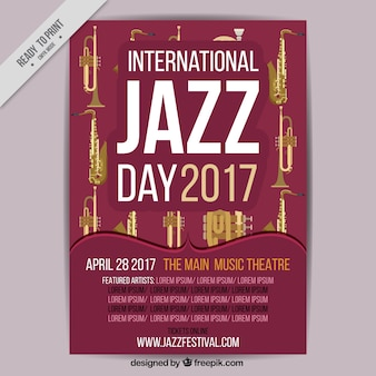 Folheto retro do dia internacional de jazz 2017