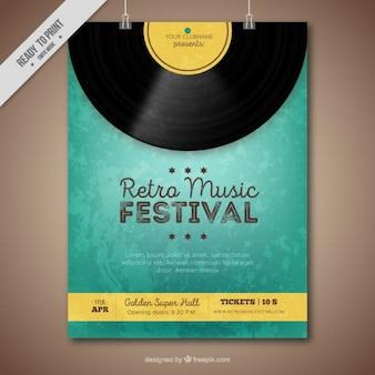 Folheto Retro festival de música com vinil e amarelo detalhes