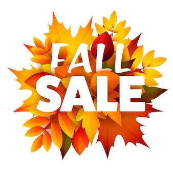 Folheto sazonal de venda outono com monte de folhas