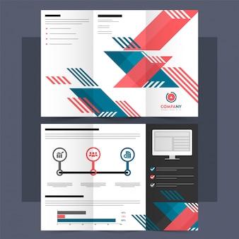 Folheto tri-fold abstrato, folheto para empresas.