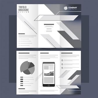 Folheto tri-fold branco e cinza, folheto para empresas.