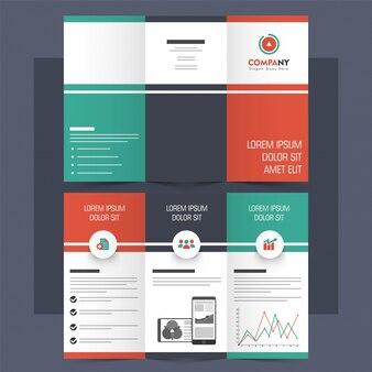 Folheto tri-fold criativo, folheto para negócios.