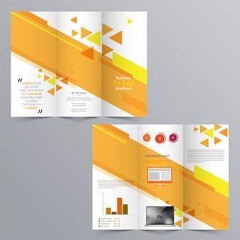 Folheto tri-fold de negócios, design de modelo com apresentação da página anterior e posterior.