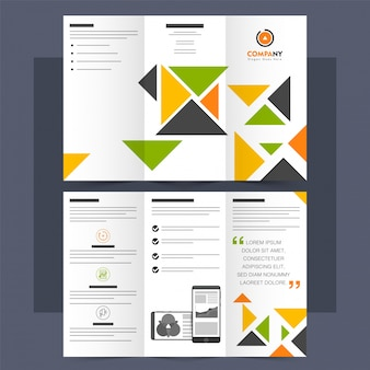 Folheto tri-fold de negócios, folheto com triângulos coloridos.