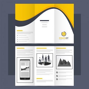 Folheto tri-fold de negócios, layout do folheto.