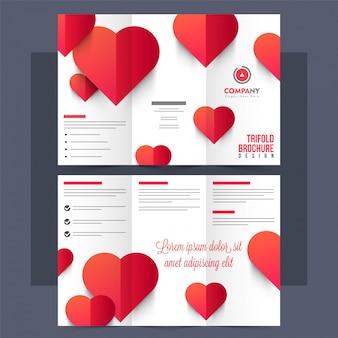 Folheto tri-fold, folheto com corações vermelhos.