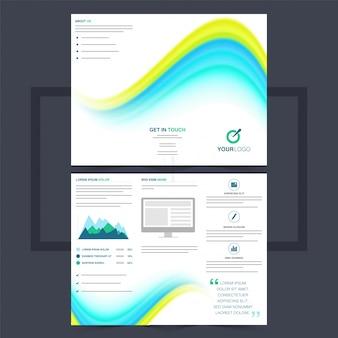Folheto trifold comercial ou design de flyer com ondas azuis e amarelas.