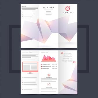 Folheto trifold de negócios ou design de flyer com design abstrato de origami.