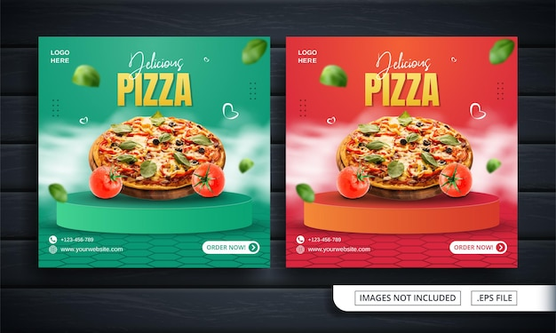 Folheto verde e laranja ou banner de mídia social para promoção de pizza