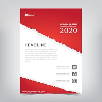 Folheto vermelho com estilo de papel rasgado