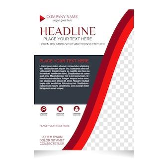 Folheto vermelho e branco desenho do flyer modelo de layout