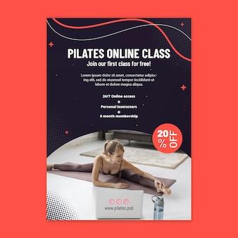 Folheto vertical da aula online de pilates