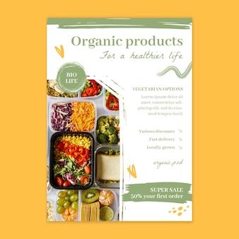 Folheto vertical de alimentos bio e saudáveis
