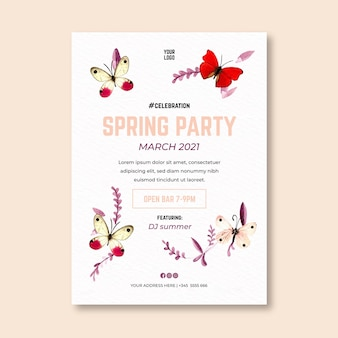 Folheto vertical de aquarela primavera