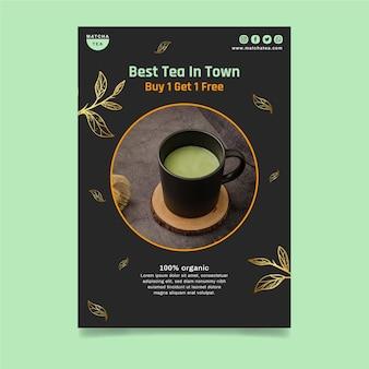 Folheto vertical de chá matcha