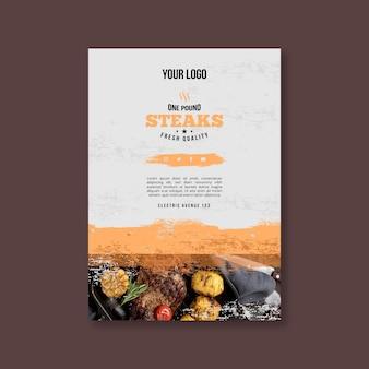 Folheto vertical de churrasco de comida fresca grelhada