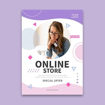 Folheto vertical de compras online