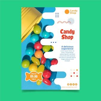 Folheto vertical de doces