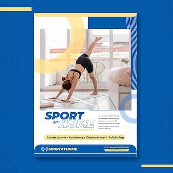 Folheto vertical de esporte em casa